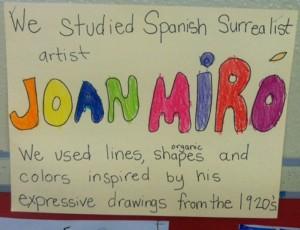 "First Graders, Week 1:  Joan Miro, ""Who I Am"" Self Portraits"