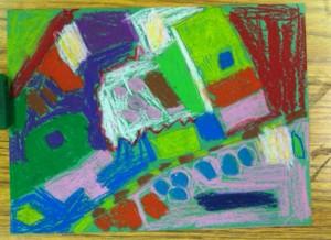 First Graders, Weeks 4 & 5:  Landscapes in Oil Pastels, Our School ~ Looking at Artist, Wayne Thiebaud