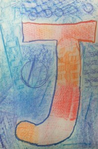 Texture Letter in Complimentary Colors 9