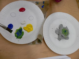 With Plate and painted Turtle sculpture 6